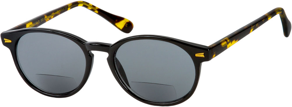 The Drama Bifocal Sun Reader +3.75 Black and Tortoise with Smoke Reading Glasses